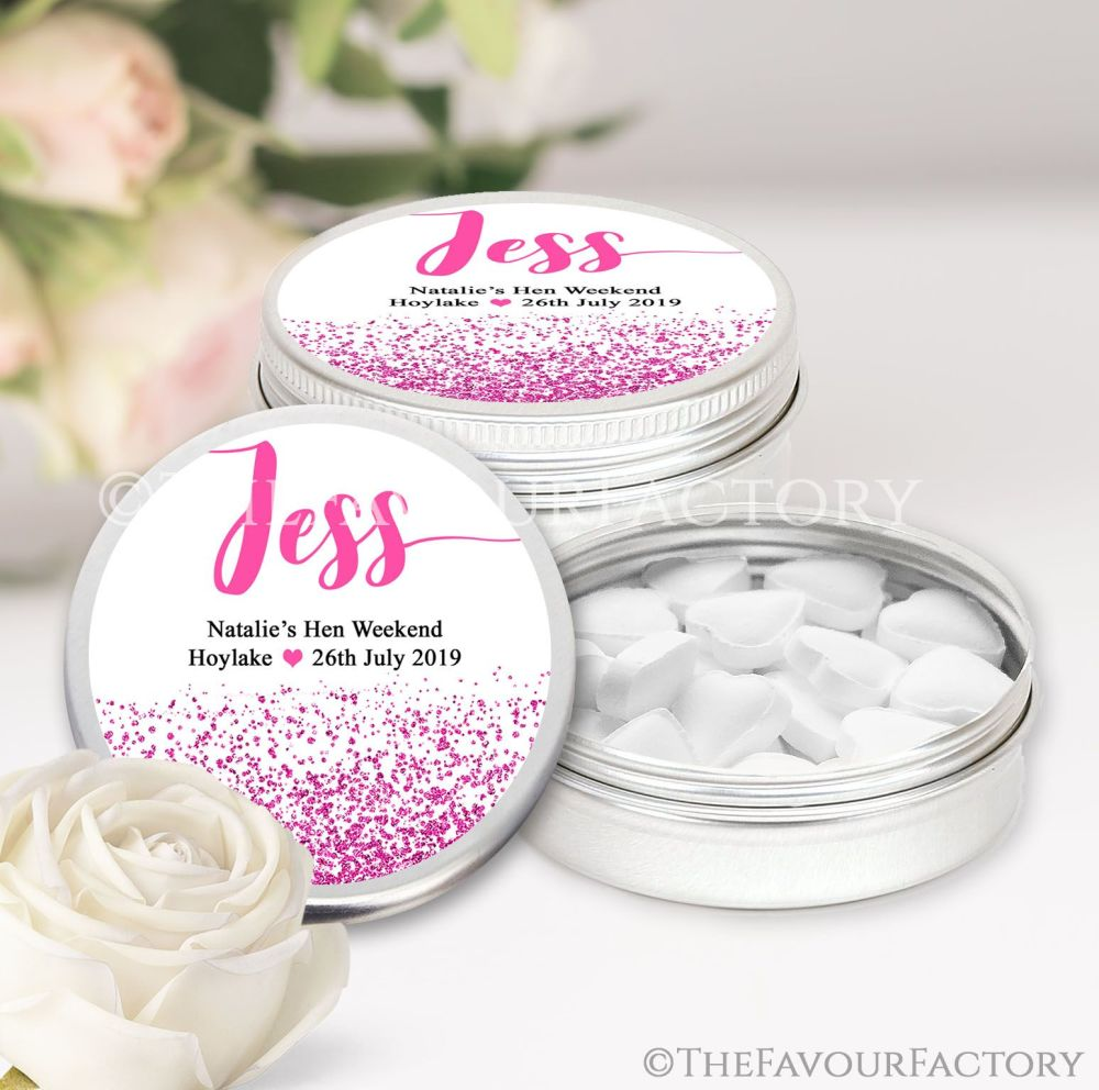 Hot Pink Glitter Confetti Hen Party Favour Tins Named x1