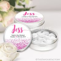 Named Hen Party Favour Tins Hot Pink Glitter Confetti x1