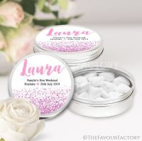 Named Hen Party Favour Tins Pink Glitter Confetti x1