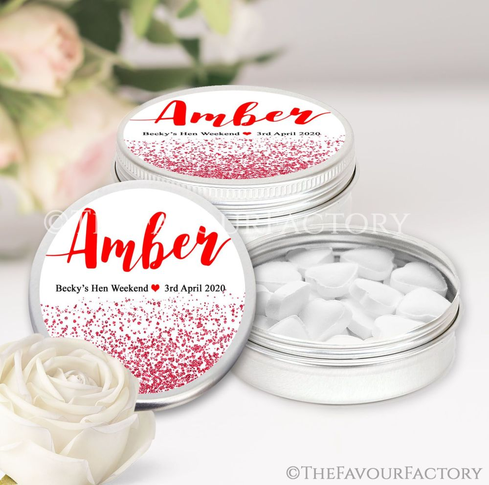 Named Hen Party Favour Tins Red Glitter Confetti x1