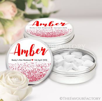 Hen Party Favour Tins Individually Personalised Glitter Confetti Red x1