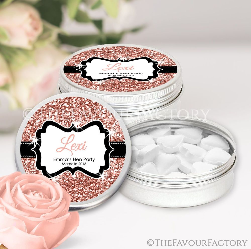 Rose Gold Glitter Hen Party Favour Tins Named x1