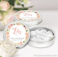 Named Hen Party Favour Tins Blush Watercolour Flowers x1