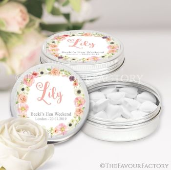 Hen Party Favour Tins Individually Personalised Watercolour Flowers x1