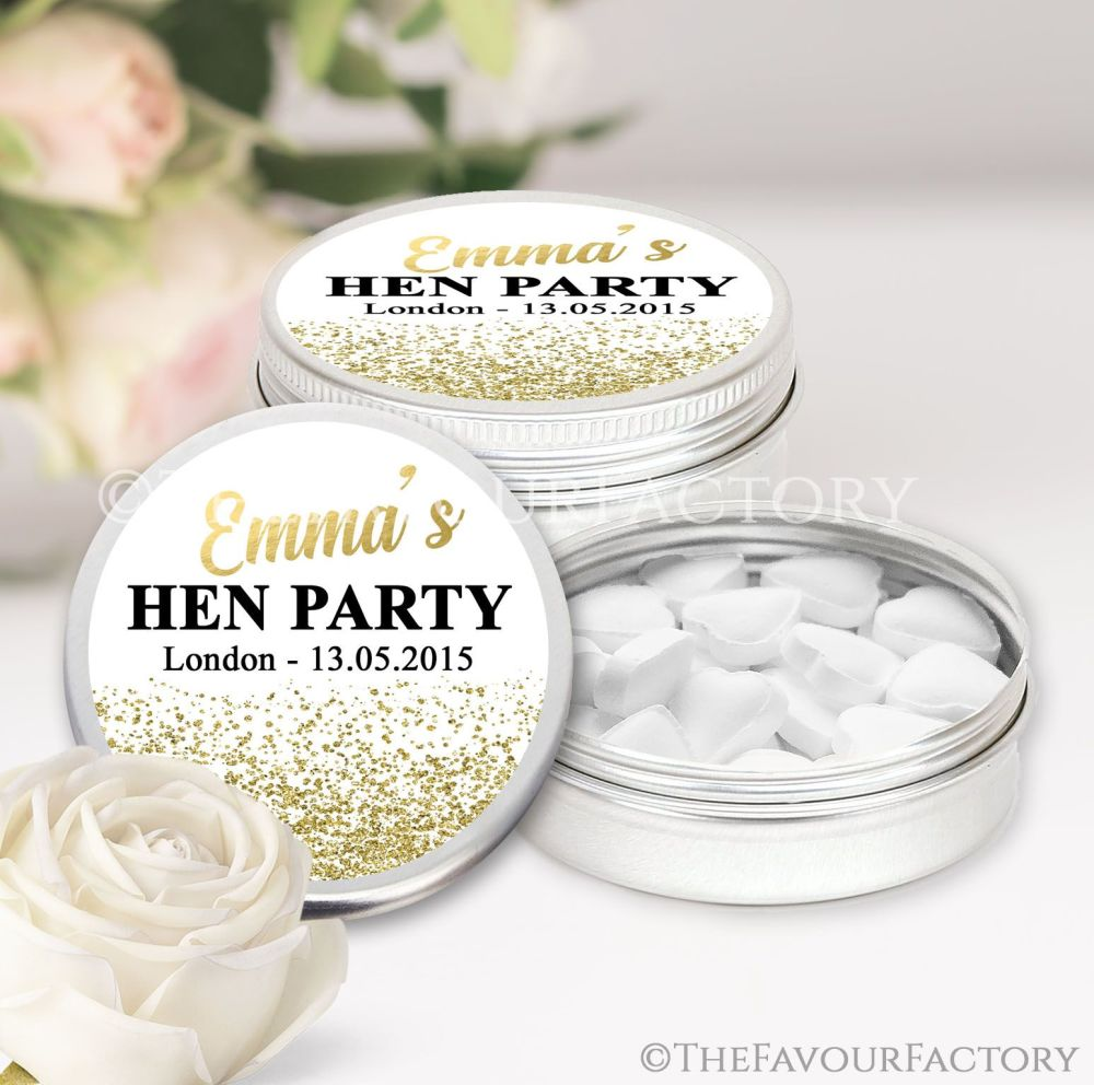 Named Hen Party Favour Tins Gold Glitter Confetti  x1