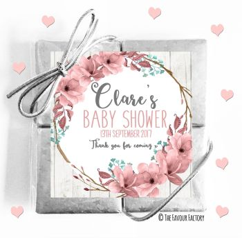 Baby Shower Chocolates Quads Favours Boho Floral Wreath x1