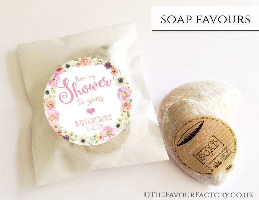 Baby Shower Soap Favours From My Shower To Yours Watercolour Flowers x1