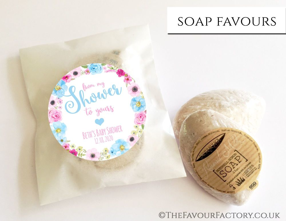 Baby Shower Soap Favours From My Shower To Yours Flowers Pink Blue x1