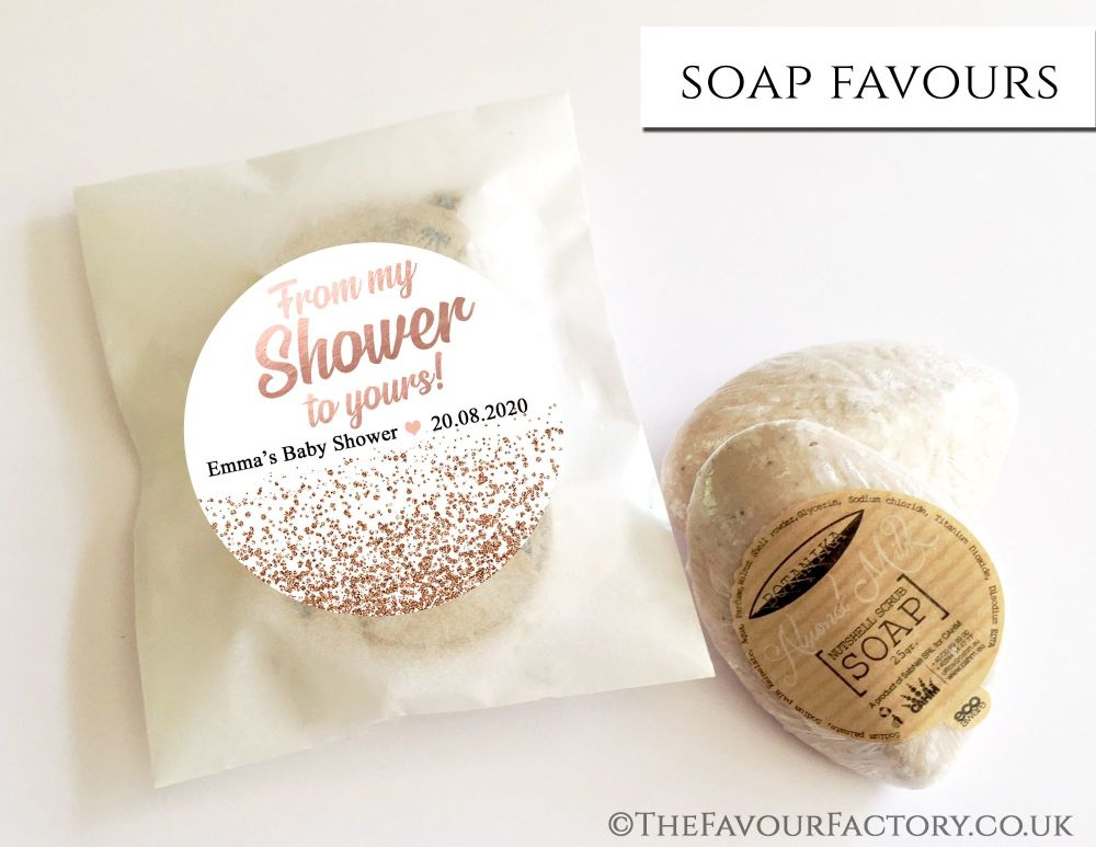 Baby Shower Soap Favours From My Shower To Yours Glitter Rose Gold x1