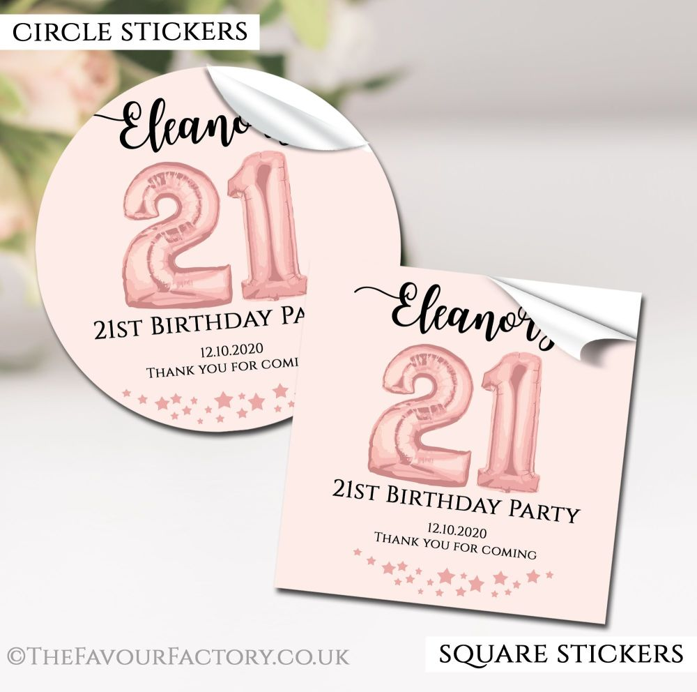 Personalised Happy Birthday Stickers Rose Gold Age Balloons