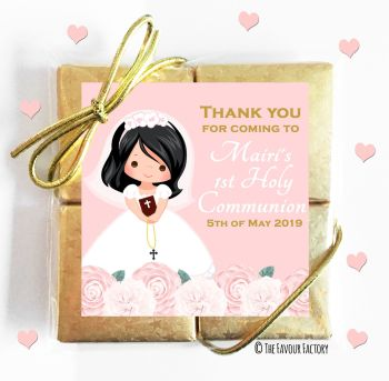 Holy Communion Chocolates Quads Favours Floral Black Hair Girl x1