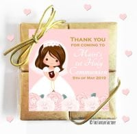 Personalised Communion Chocolates Quads Floral Girl 4 x1