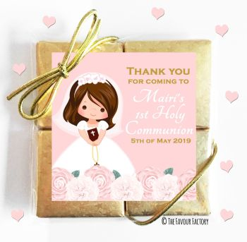 Holy Communion Chocolates Quads Favours Floral Brown Hair Girl x1