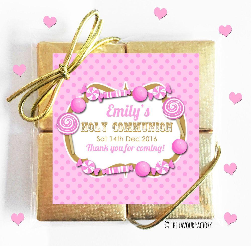 Personalised Communion Chocolates Quads Pink Sweets Theme x1