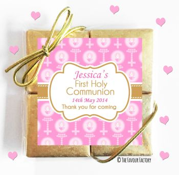 Holy Communion Chocolates Quads Favours Beads and Candles Pink x1