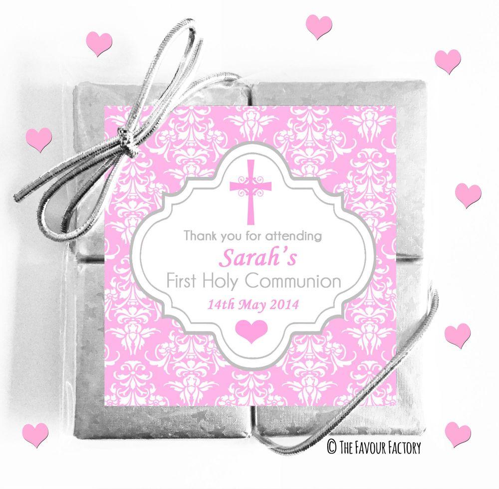 Personalised Communion Chocolates Quads Pink Damask Cross x1