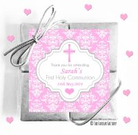 Personalised Communion Chocolates Quads Pink Damask Cross x1