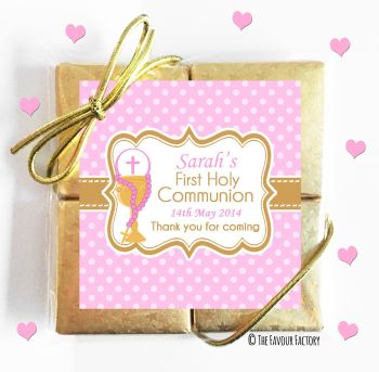 Holy Communion Chocolates Quads Favours Pink Chalice and Beads x1