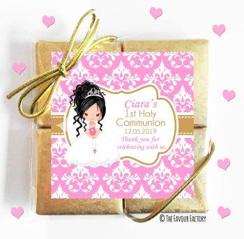 Holy Communion Chocolates Quads Favours Black Hair Girl x1