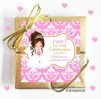 Holy Communion Chocolates Quads Favours Brown Hair Girl x1
