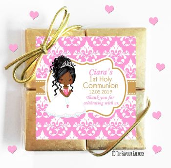 Holy Communion Chocolates Quads Favours Black Girl Black Hair x1
