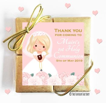 Holy Communion Chocolates Quads Favours Floral Blonde Hair Girl x1