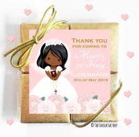 Floral Black Girl Holy Communion Chocolate Quad Favours x1