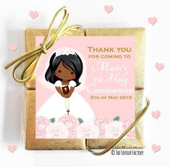 Holy Communion Chocolates Quads Favours Floral Black Girl x1