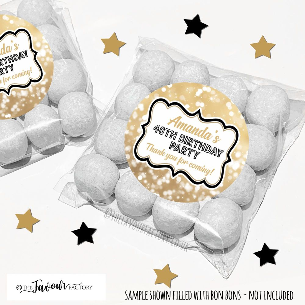Gold Bokeh Sparkles Adult Birthday Party Favours Sweet Bags Kits x12