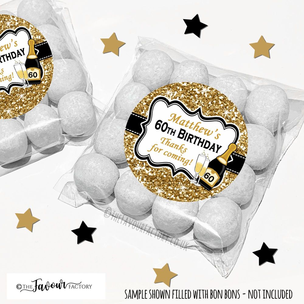Gold Glitter Champagne Adult Birthday Party Favours Sweet Bags Kits x12