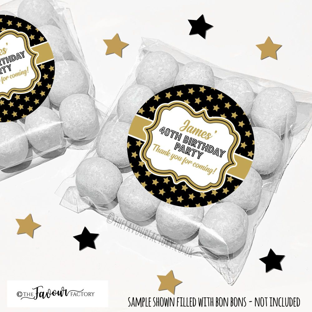Gold Stars Adult Birthday Party Favours Sweet Bags Kits x12