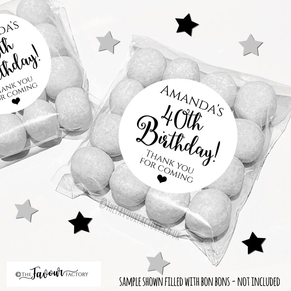Black and White Classic Adult Birthday Sweet Bags Kits x12