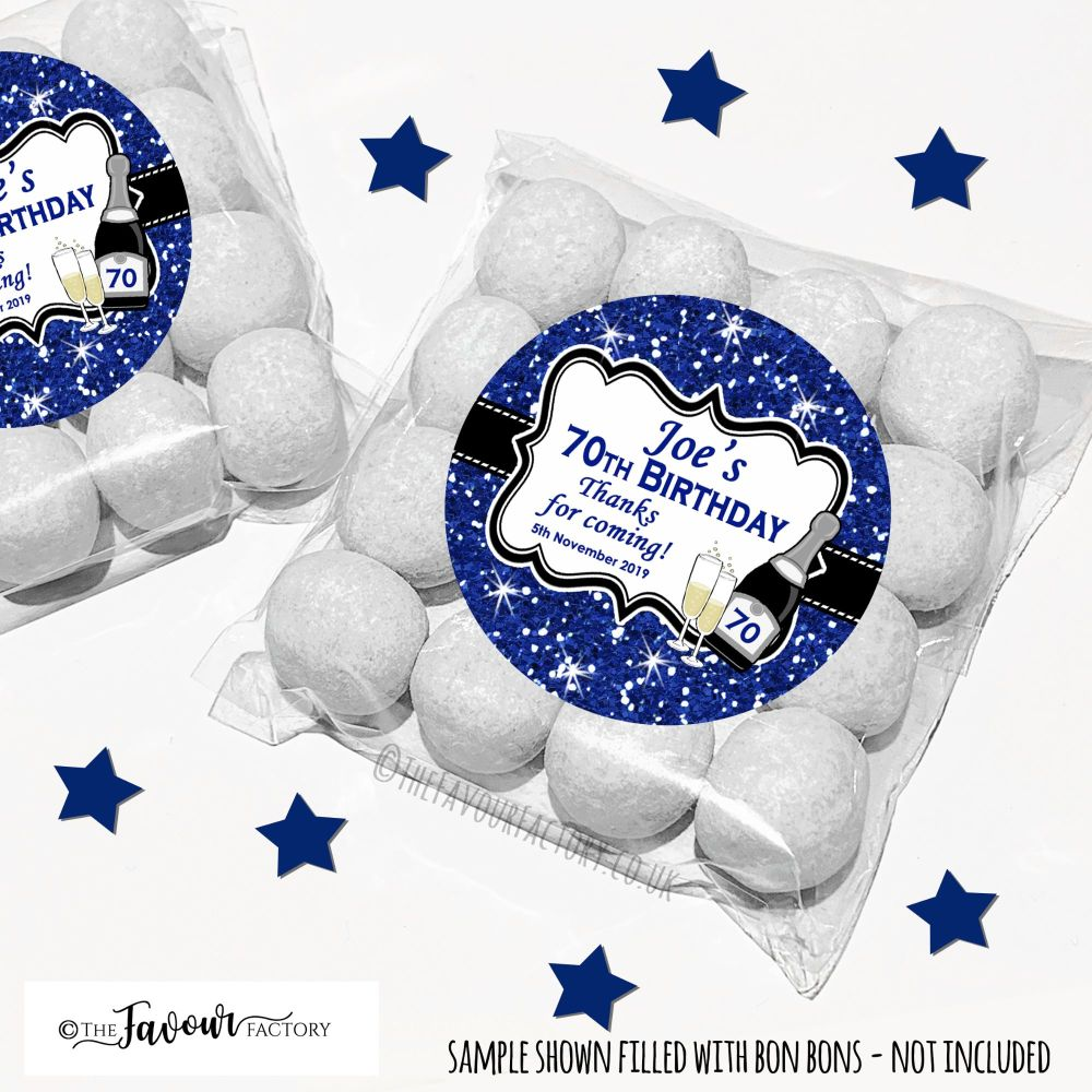 Navy Glitter Champagne Adult Birthday Party Favours Sweet Bags Kits x12
