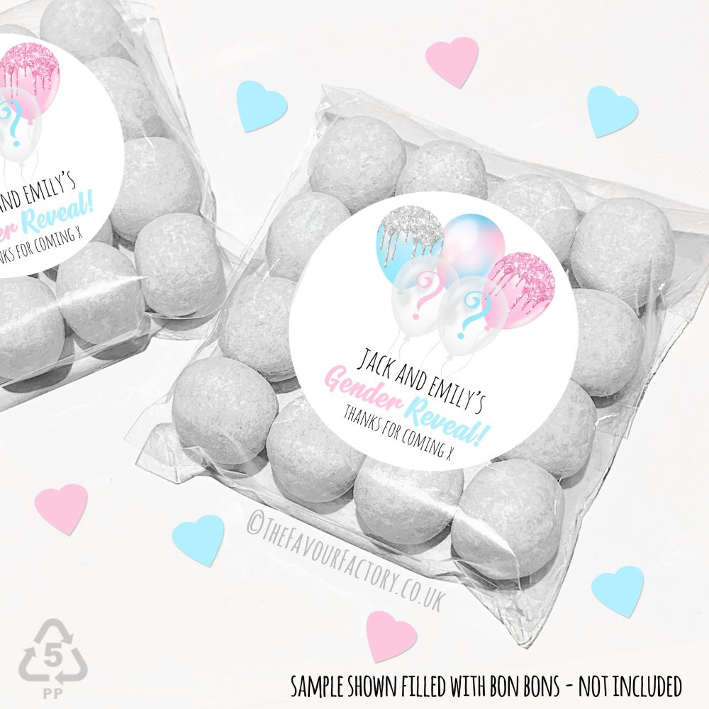 Gender Reveal Party Sweet Bags Kits Balloons x12