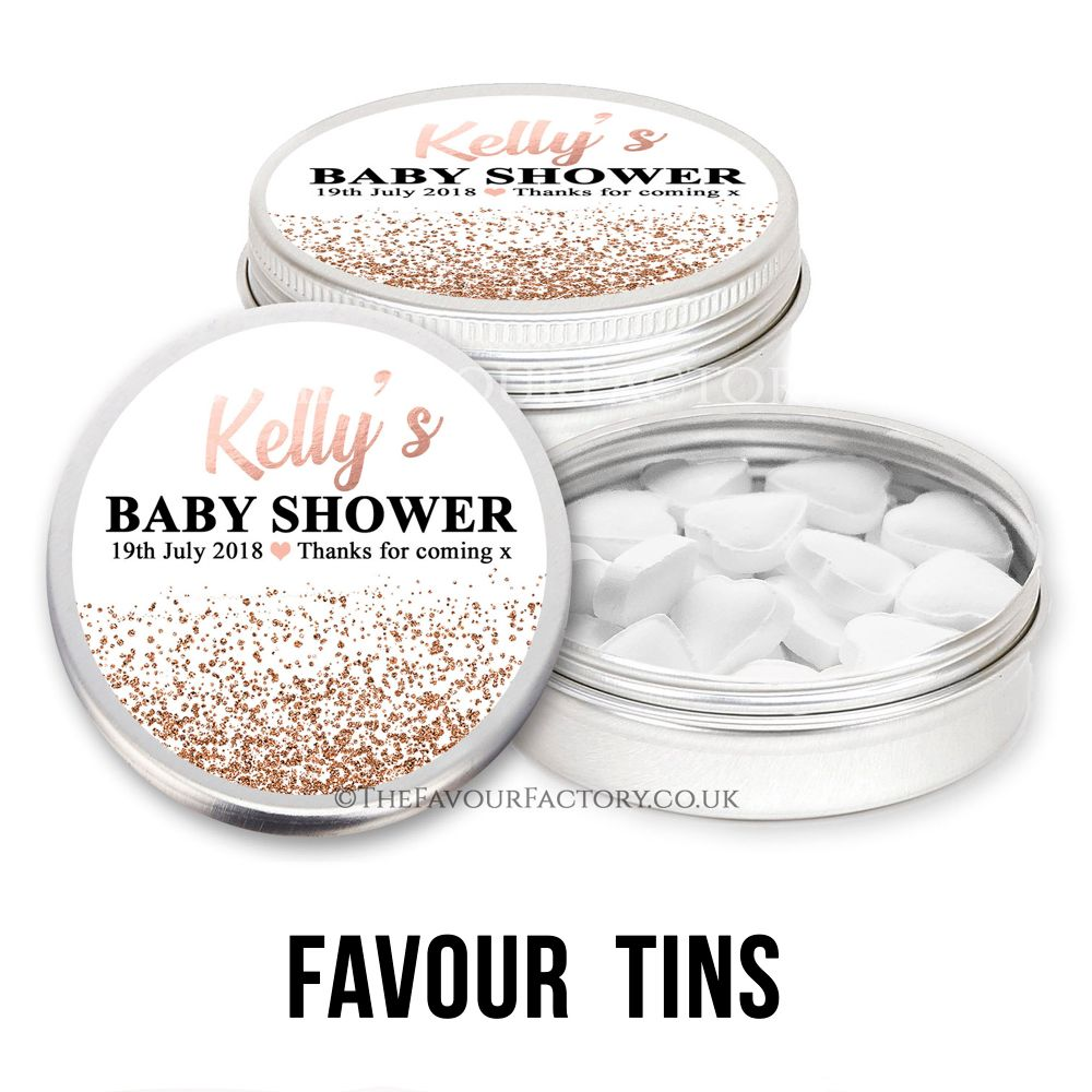 Personalised Baby Shower Favour Tins
