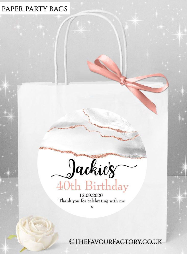 Birthday Party Bags Agate Glitter Rose Gold x1