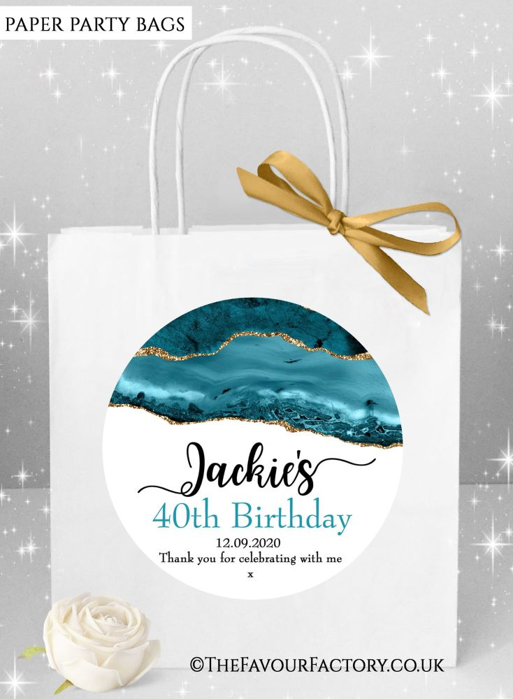 Birthday Party Bags Agate Gold Glitter And Teal x1