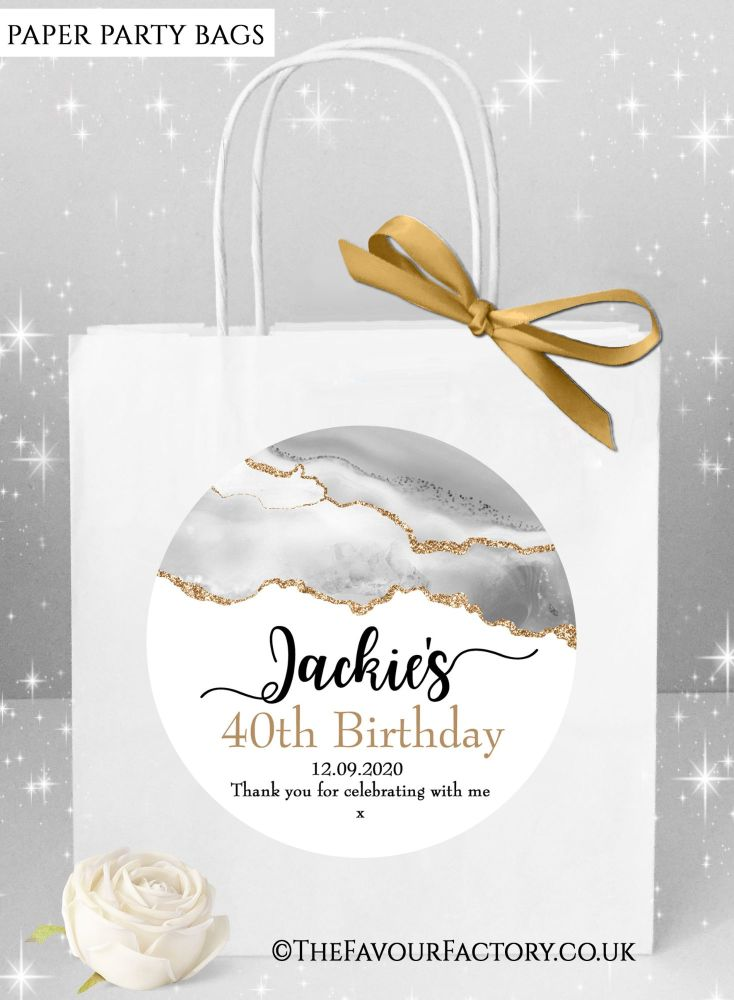 Birthday Party Bags Agate Gold Glitter And Grey x1