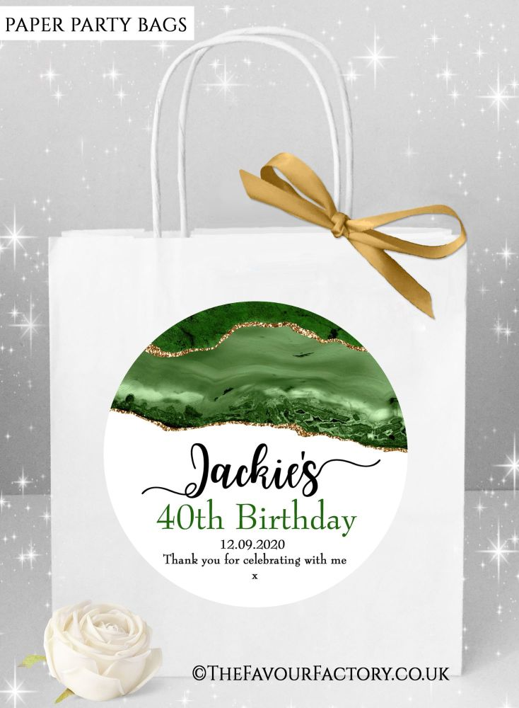 Birthday Party Bags Agate Gold Glitter And Green x1