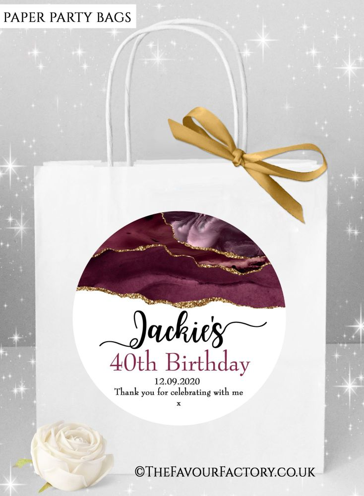Birthday Party Bags Agate Gold Glitter And Burgundy x1