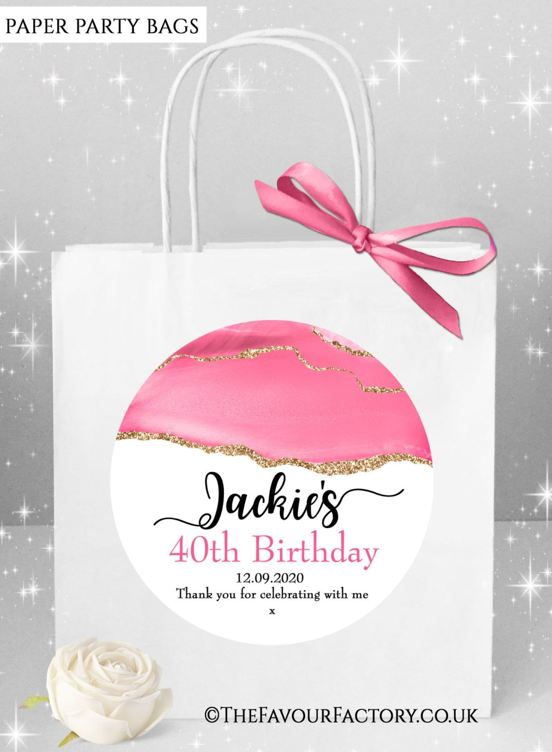 Birthday Party Bags Rose Gold Glitter Pink Agate x1