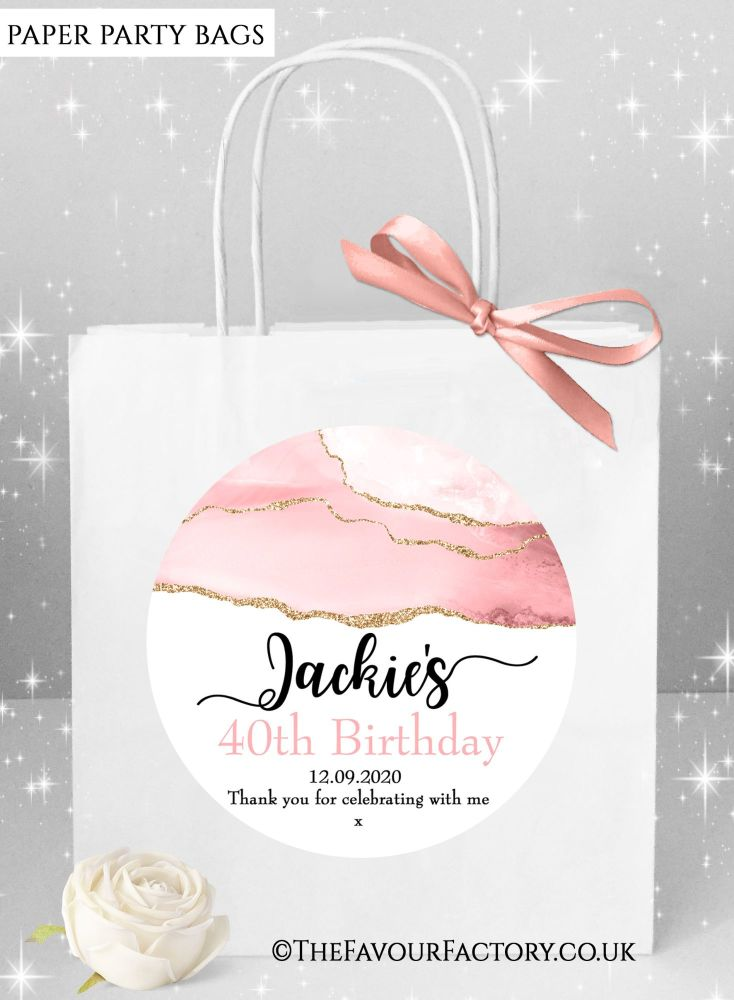 Birthday Party Bags Blush Agate Rose Gold Glitter x1