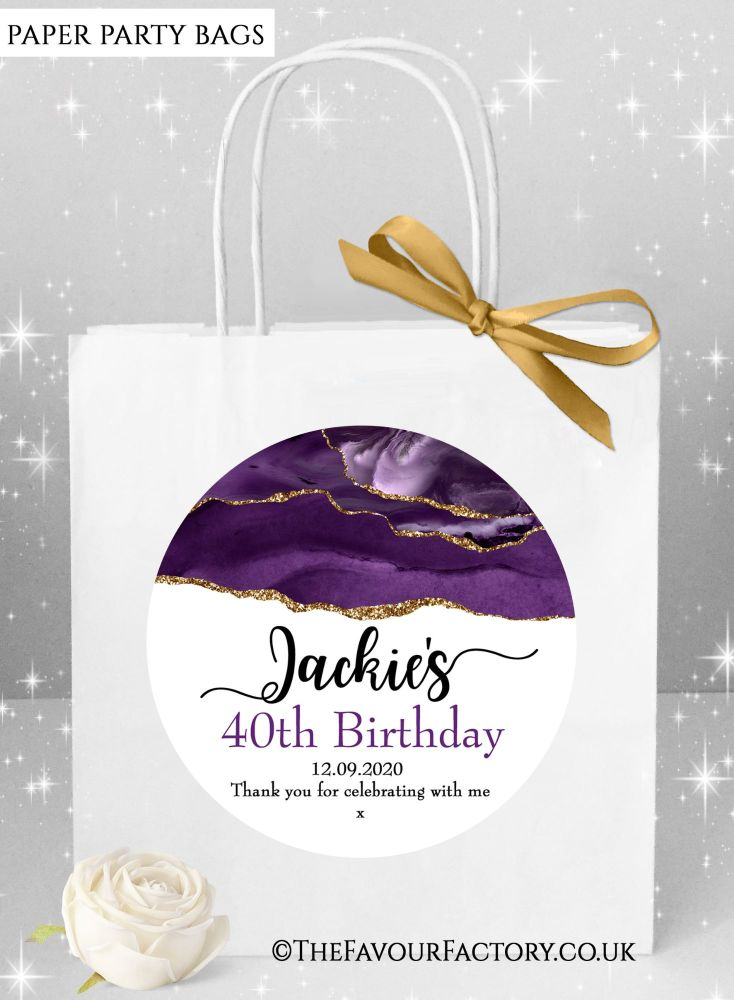 Birthday Party Bags Purple Agate Gold Glitter