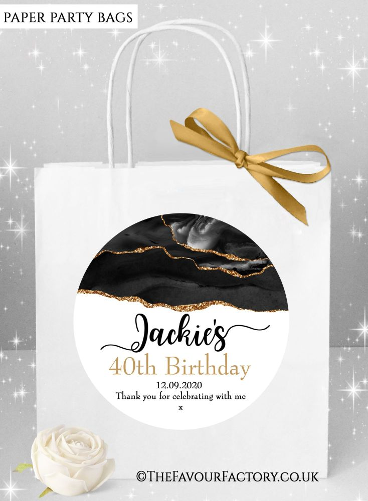 Birthday Party Bags Agate Glitter Gold And Black x1