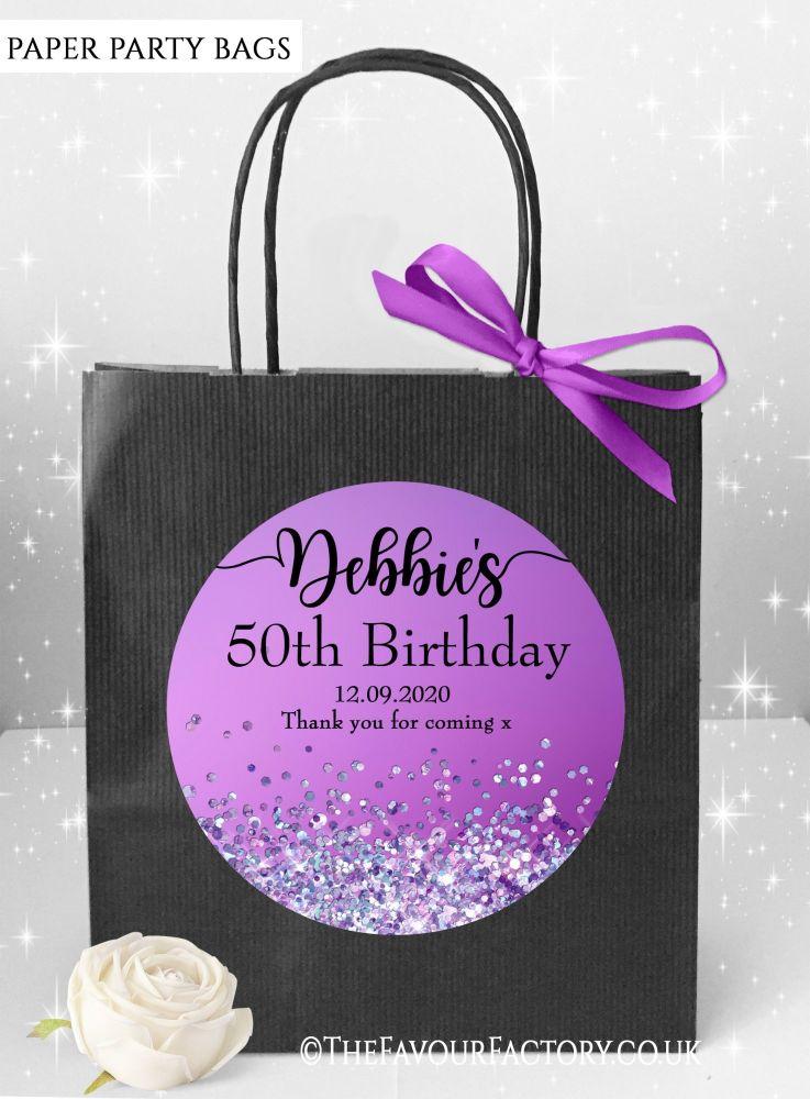 Birthday Party Bags Purple Iridescent Glitter x1