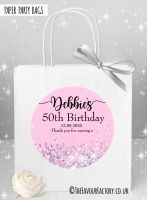 Birthday Party Bags Pink Iridescent Glitter x1