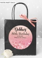 Birthday Party Bags Rose Pink Iridescent Glitter x1