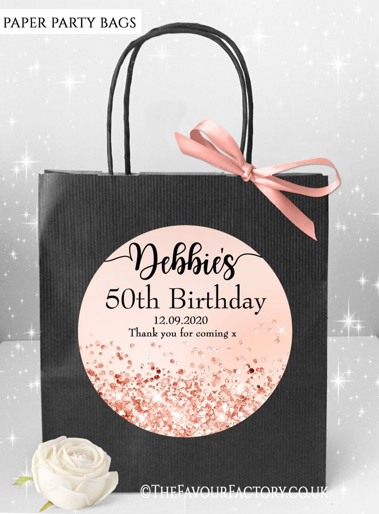 Birthday Party Bags Rose Gold Iridescent Glitter x1