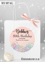 Birthday Party Bags Pale Peach Iridescent Glitter x1