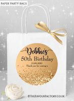 Birthday Party Bags Gold Glitter Confetti Sparkles x1